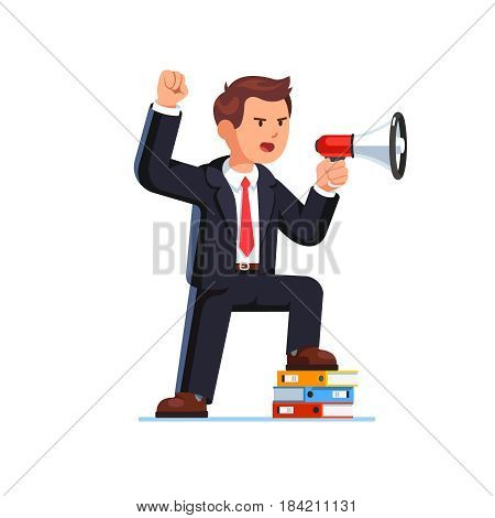 Serious business man shouting through megaphone raising clenched fist hand up gesture. Leader commanding putting his foot on stacked document files pile. Flat style vector isolated illustration.