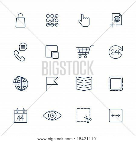 Set of 16 quality icons for Web and Mobile. Media, computers, shopping, travel, business, navigation service