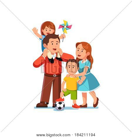 Happy parents mom and dad standing together with kids girl and boy. Little daughter sitting on father shoulders waving hands holding pinwheel. Loving family. Flat style vector isolated illustration.