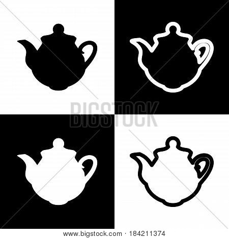 Tea maker Kitchen sign. Vector. Black and white icons and line icon on chess board.