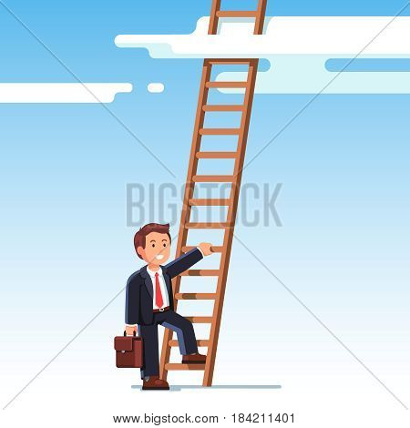 Smiling businessman in suit climbing up the career ladder to the sky. Successful rising business development. Professional growth and promotion concept. Flat style vector illustration.