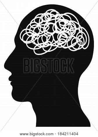 the isolated confused head on white background