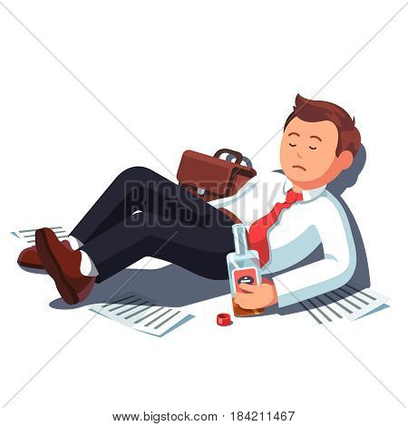 Drunk bankrupt unemployed business man lying on the floor with alcohol bottle. Broken executive manager drinking of stress. Addicted alcoholic leaning wall. Flat style isolated vector illustration.