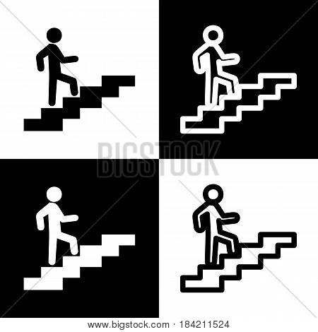 Man on Stairs going up. Vector. Black and white icons and line icon on chess board.