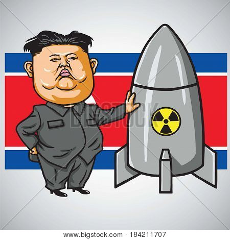 Kim Jong-un Cartoon with Nuclear Missile on North Korea Flag. Vector Illustration. May 1, 2017
