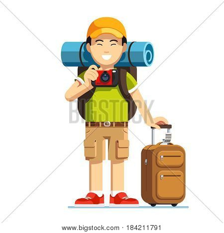 Excited Asian tourist man standing with his luggage, wheeled boarding spinner and rucksack. Chinese or Japanese hiker in baseball cap taking photo with camera. Flat style vector isolated illustration