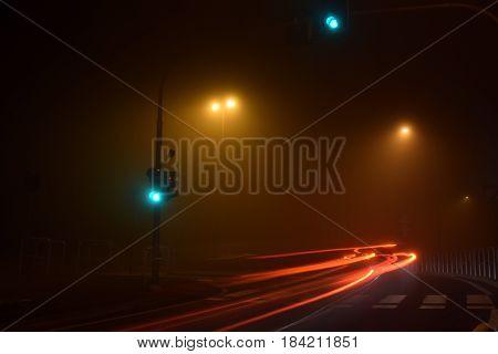 A dense fog on the streets of Brescia - Italy