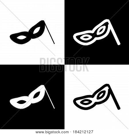Traditional Venetian Carnival Decorative mask sign. Vector. Black and white icons and line icon on chess board.