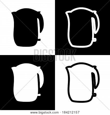 Electric kettle sign. Vector. Black and white icons and line icon on chess board.
