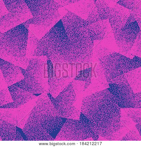 Vector Abstract Stippled Weird Hipster Seamless Pattern. Handmade Tileable Geometric Dotted Grunge Pink and Blue Solid Simple Background. Bizarre Art Illustration
