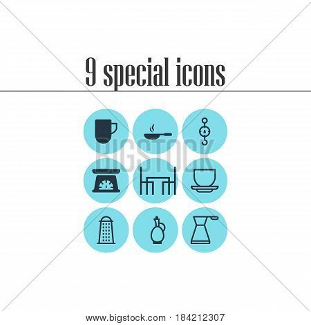 Vector Illustration Of 9 Kitchenware Icons. Editable Pack Of Coffee Cup, Tea Cup, Measuring Tool And Other Elements.