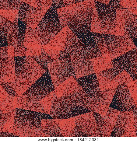 Vector Abstract Stippled Weird Hipster Seamless Pattern. Handmade Tileable Geometric Dotted Grunge Orange and Dark Blue Solid Simple Background. Bizarre Art Illustration