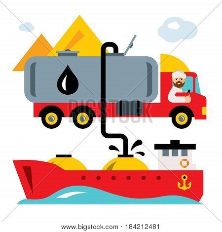 Man pumping oil out of the truck in oil tanker. Isolated on a white background