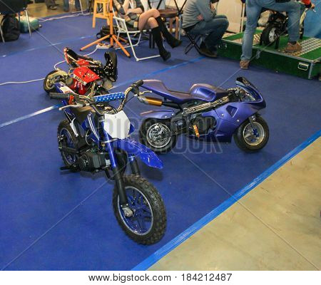 St. Petersburg Russia - 15 April, Small motorized exhibition bikes,15 April, 2017. International Motor Show IMIS-2017 in Expoforurum. Motorcycles and motoconcepts presented at St. Petersburg Motor Show.