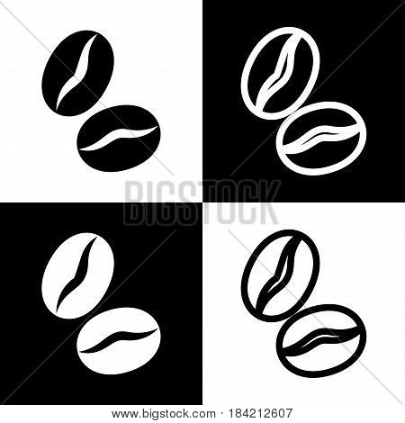 Coffee beans sign. Vector. Black and white icons and line icon on chess board.