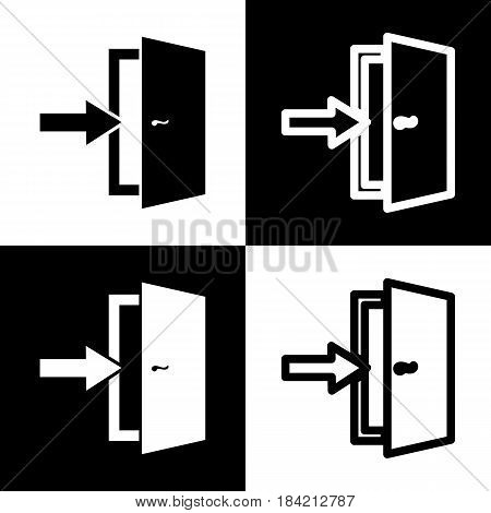 Door Exit sign. Vector. Black and white icons and line icon on chess board.