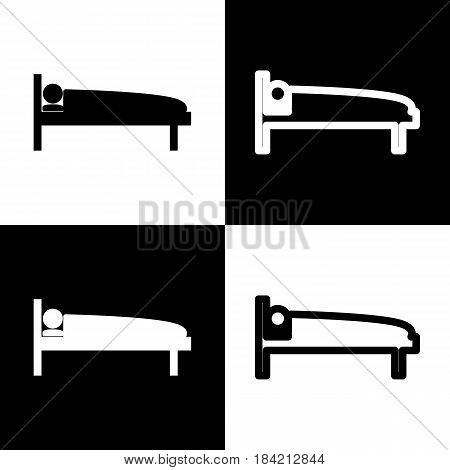 Hospital sign illustration. Vector. Black and white icons and line icon on chess board.