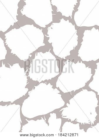 Card with spots made by brush and ink. Texture for the background. White random spots on a gray background. Hand drawn. Vector illustration.