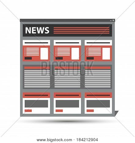 web site news, newspaper, journal template in a browser window, vector eps10. Icon