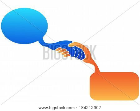 isolated color handshake speech bubble on white background