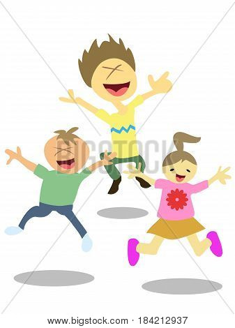 isolated 3 happy jumping kids on white background