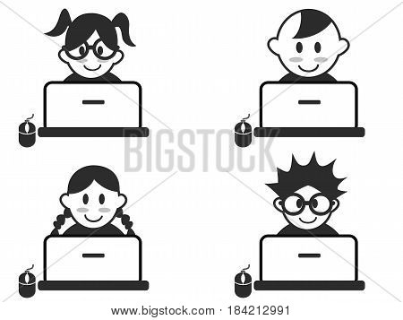 isolated kids head with notebook icons on white background