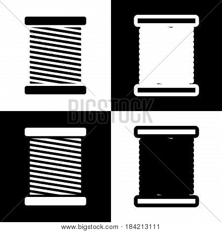Thread sign illustration. Vector. Black and white icons and line icon on chess board.