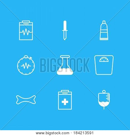 Vector Illustration Of 9 Medicine Icons. Editable Pack Of Pressure Gauge, Weighing, Antibody And Other Elements.