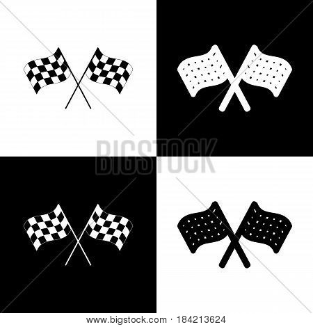 Crossed checkered flags logo waving in the wind conceptual of motor sport. Vector. Black and white icons and line icon on chess board.