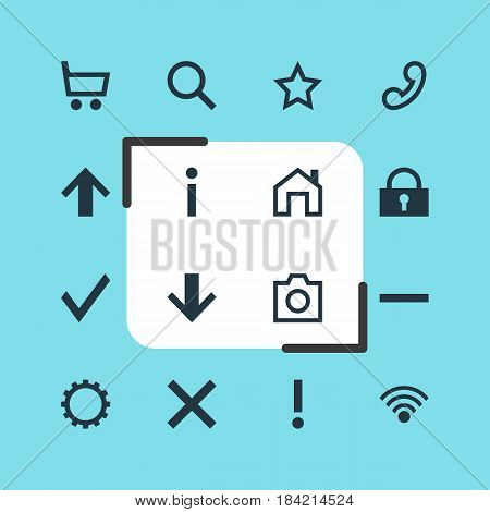 Vector Illustration Of 16 Interface Icons. Editable Pack Of Info, Seek, Confirm And Other Elements.