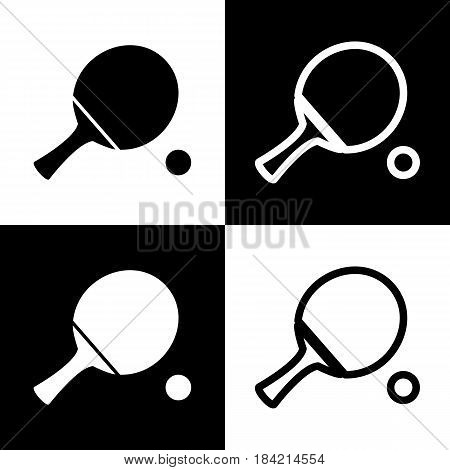 Ping pong paddle with ball. Vector. Black and white icons and line icon on chess board.