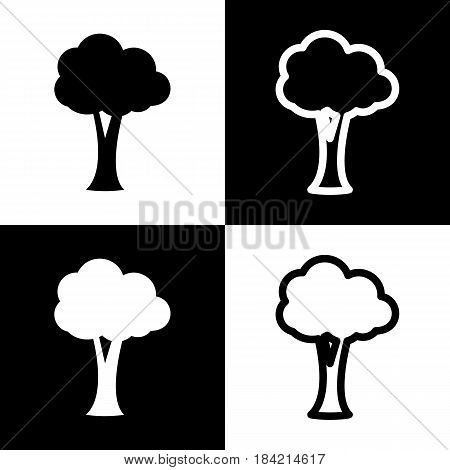 Tree sign illustration. Vector. Black and white icons and line icon on chess board.