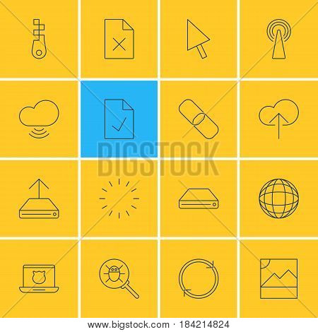 Vector Illustration Of 16 Network Icons. Editable Pack Of Router, Delete Data, Secure Laptop And Other Elements.