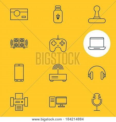 Vector Illustration Of 12 Device Icons. Editable Pack Of Game Controller, PC, Joypad And Other Elements.