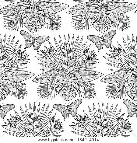 Tropical seamless pattern with flowers, leaves and butterfly. Tropic floral outline wallpaper on white background. Mock up for coloring pages and books.