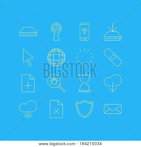 Vector Illustration Of 16 Internet Icons. Editable Pack Of Delete Data, Bug, Letter And Other Elements.