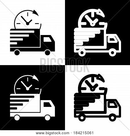 Delivery sign illustration. Vector. Black and white icons and line icon on chess board.