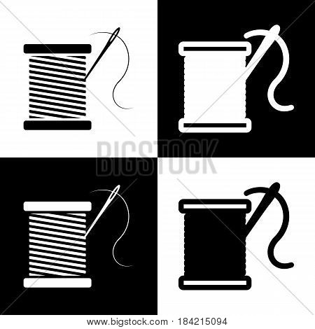 Thread with needle sign illustration. Vector. Black and white icons and line icon on chess board.