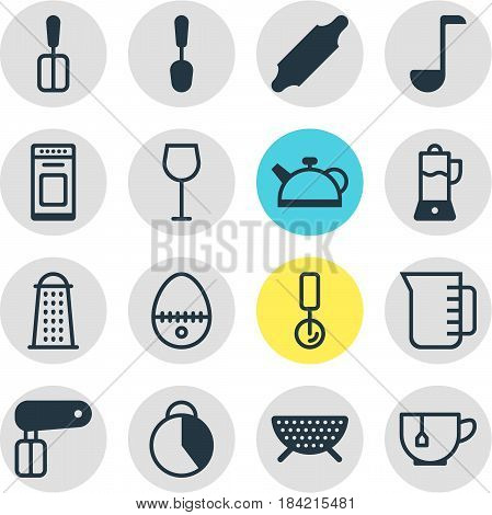 Vector Illustration Of 16 Restaurant Icons. Editable Pack Of Tablespoon, Mug, Wine And Other Elements.