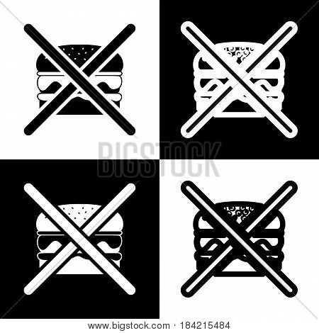 No burger sign. Vector. Black and white icons and line icon on chess board.