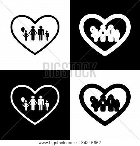 Family sign illustration in heart shape. Vector. Black and white icons and line icon on chess board.