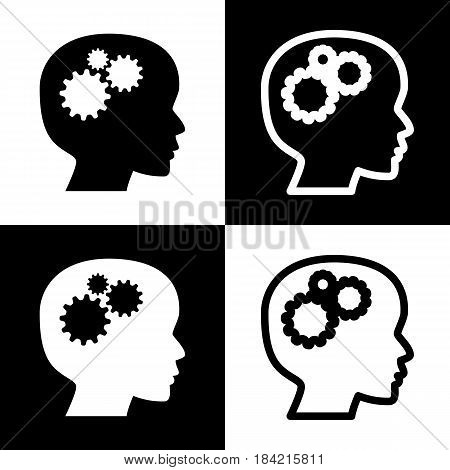 Thinking head sign. Vector. Black and white icons and line icon on chess board.
