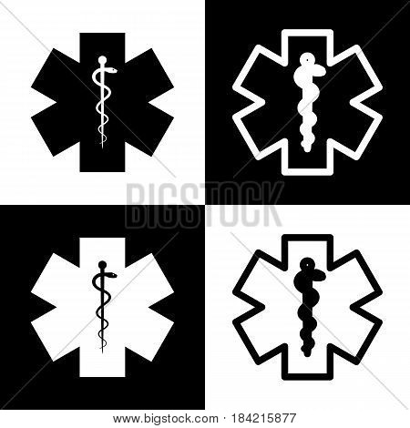 Medical symbol of the Emergency or Star of Life. Vector. Black and white icons and line icon on chess board.