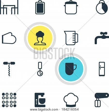 Vector Illustration Of 16 Kitchenware Icons. Editable Pack Of Round Slicer, Whisk, Mixer And Other Elements.