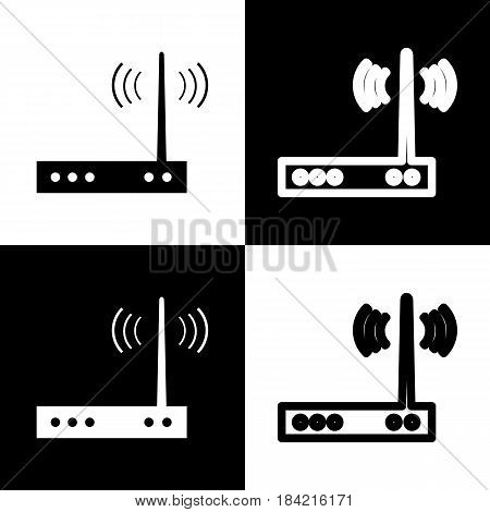 Wifi modem sign. Vector. Black and white icons and line icon on chess board.