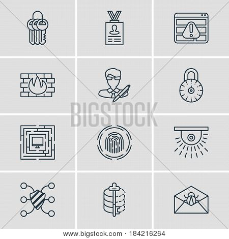 Vector Illustration Of 12 Privacy Icons. Editable Pack Of System Security, Copyright, Camera And Other Elements.