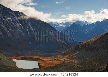 Beautiful autumn landscape mountain lake Russia Siberia Altai Mountains Katun Range.
