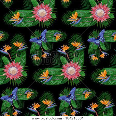 Tropical seamless pattern with flowers, leaves and butterfly. Tropic floral wallpaper isolated on black background. Exotic textile print.