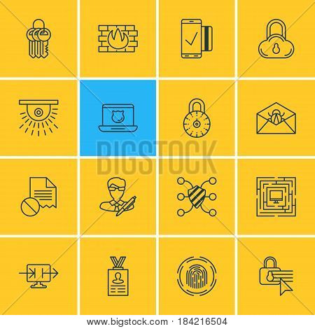 Vector Illustration Of 16 Internet Security Icons. Editable Pack Of Send Information, Finger Identifier, Easy Payment And Other Elements.