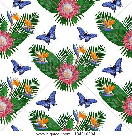 Tropical seamless pattern with flowers, leaves and butterfly. Tropic floral wallpaper isolated on white background. Exotic textile print.